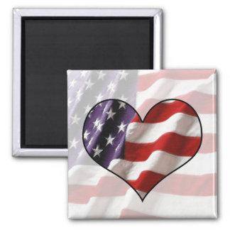 Coração da bandeira americana ímã quadrado