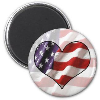 Coração da bandeira americana ímã redondo 5.08cm