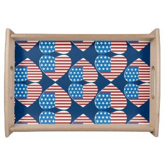 Coração da bandeira americana travessas