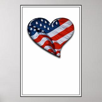 Coração da bandeira americana poster