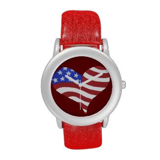 Coração da bandeira americana - relógio