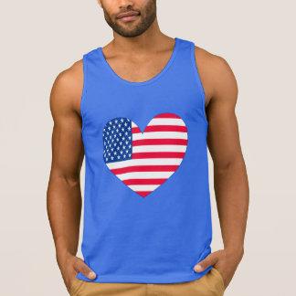 Coração da bandeira americana camiseta regata