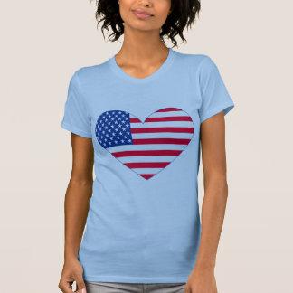 Coração da bandeira americana t-shirt