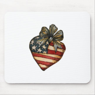 Coração da bandeira americana mouse pad
