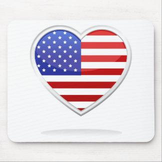 Coração da bandeira americana mousepad