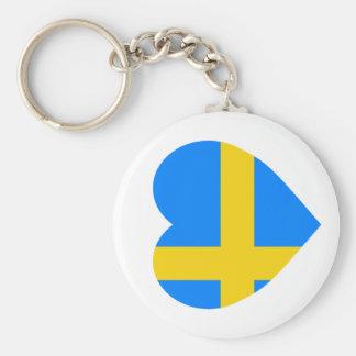 Coração da bandeira da suecia chaveiro