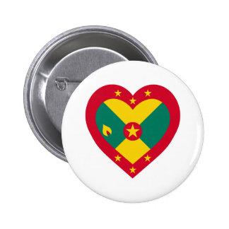 Coração da bandeira de Grenada Bóton Redondo 5.08cm