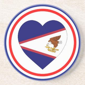 Coração da bandeira de Samoa Americanas Porta Copo