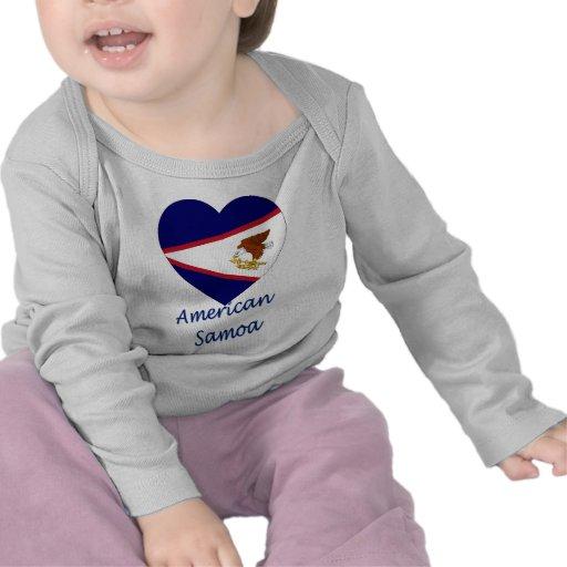 Coração da bandeira de Samoa Americanas Camiseta