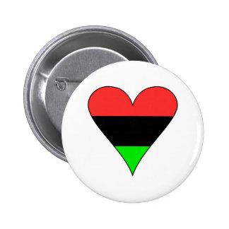 Coração da bandeira do afro-americano bóton redondo 5.08cm