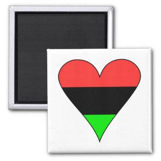 Coração da bandeira do afro-americano ímã quadrado