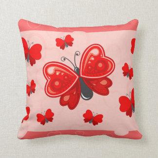 coração da borboleta almofada