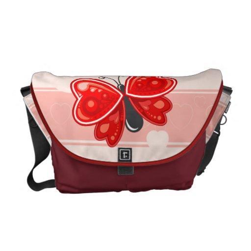 coração da borboleta bolsas mensageiro