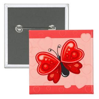coração da borboleta bóton quadrado 5.08cm