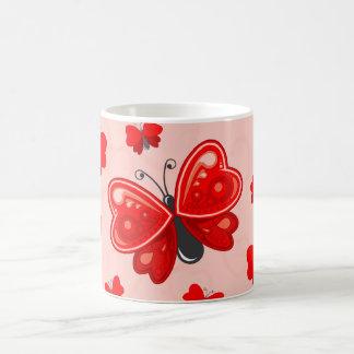 coração da borboleta caneca de café