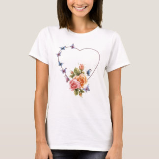coração da borboleta com o tshirt da senhora dos