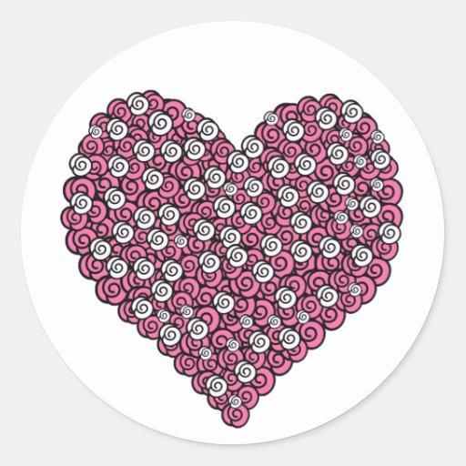 Coração da flor adesivo redondo