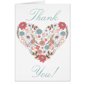 Coração da flor cartão comemorativo