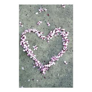 Coração da flor da ameixa papelaria