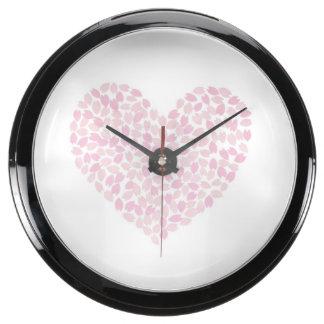 Coração da flor de cerejeira relógios aquário