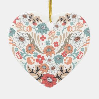Coração da flor ornamento de cerâmica coração