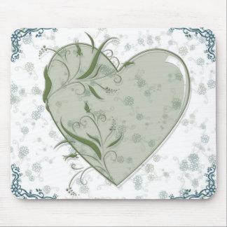 coração da flor mouse pads