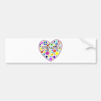 Coração da ginástica com flores adesivo para carro