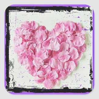 Coração da pétala da flor do Grunge Adesivo Quadrado