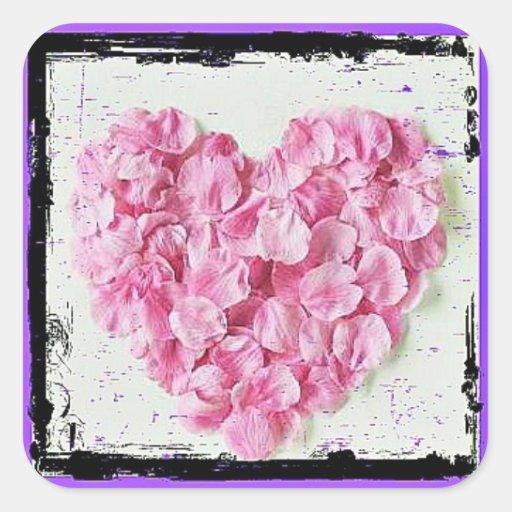 Coração da pétala da flor do Grunge Adesivos Quadrados