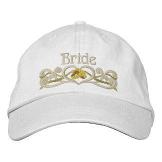 Coração das alianças de casamento - noiva boné bordado