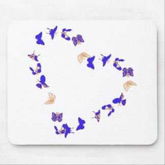 Coração das borboletas mouse pad