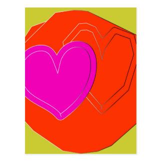 coração de duas cores cartão postal