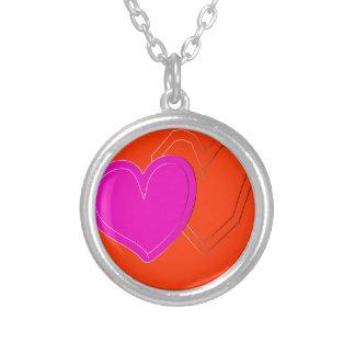 coração de duas cores colar banhado a prata