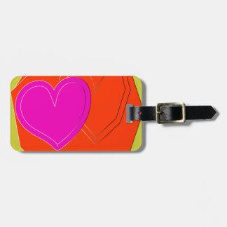 coração de duas cores tags de mala