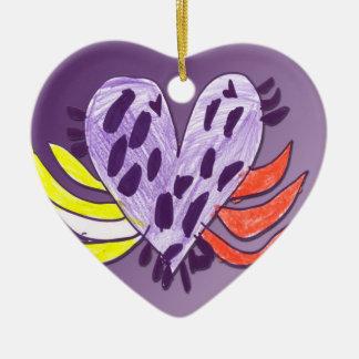 Coração de flutuação ornamento de cerâmica coração