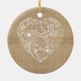 Coração de linho da flor de serapilheira ornamento de cerâmica redondo
