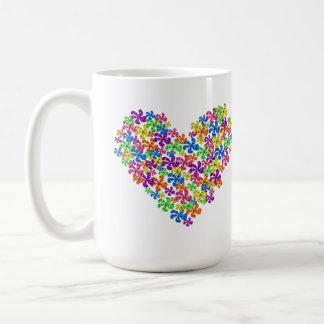Coração de néon da flor caneca