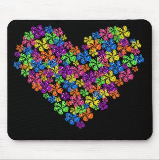 Coração de néon da flor mousepad