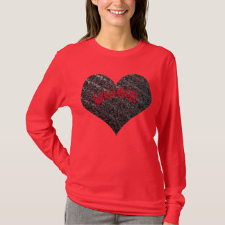 Coração de prata, AMOR vermelho - dia dos Tshirt