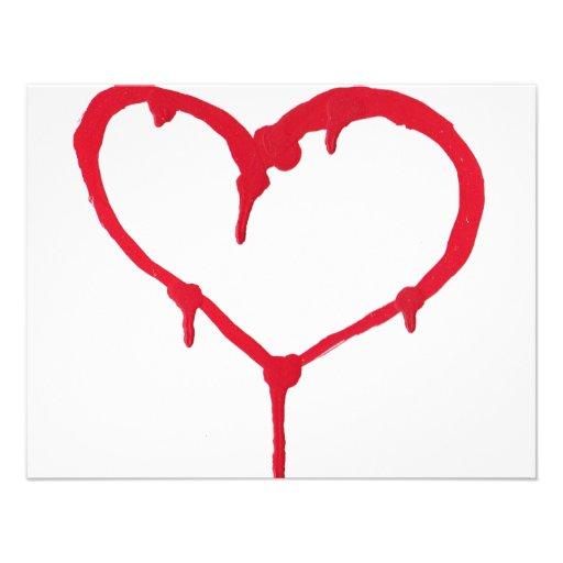 Coração de sangramento convite personalizados