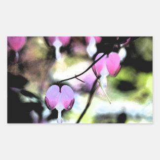 Coração de sangramento floral adesivo retangular
