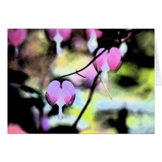 Coração de sangramento floral cartão comemorativo