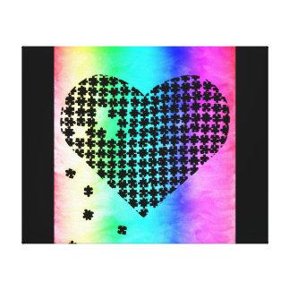 Coração desvanecido 2 do quebra-cabeça das cores impressão em tela