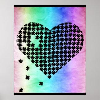 Coração desvanecido do quebra-cabeça das cores poster