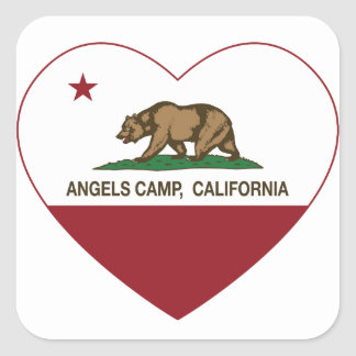 coração do acampamento dos anjos da bandeira de adesivo quadrado