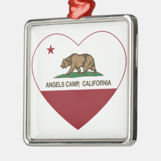 coração do acampamento dos anjos da bandeira de ornamento quadrado cor prata
