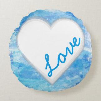 Coração do amor da aguarela da tipografia, azul almofada redonda