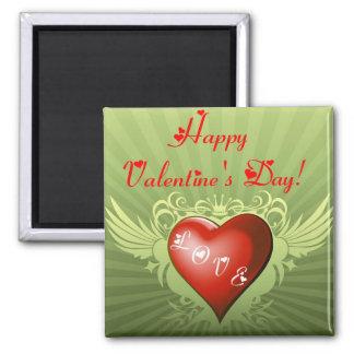 """Coração do """"amor"""" do dia dos namorados com ímã das ímã quadrado"""