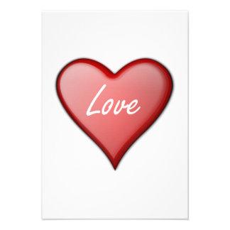 Coração do amor do dia dos namorados convite personalizado