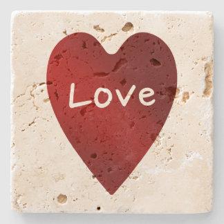 Coração do amor do dia dos namorados porta copos de pedras